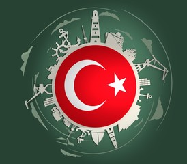 Circle with sea shipping and travel relative silhouettes. Objects located around the circle. Industrial design background. Turkey flag in the center. 3D rendering