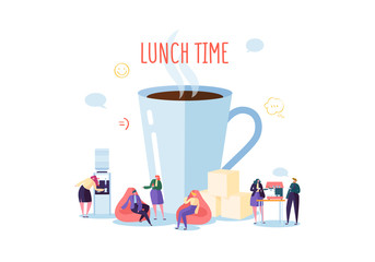 Office Lunch Time. Business People Characters on Coffee Break. Employees Talking, Resting and Drinking Hot Drinks. Vector illustration