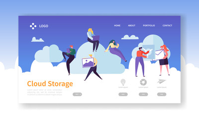 Cloud Storage Technology Landing Page Template. Data Center Hosting Website Layout with Flat People Characters. Easy to Edit and Customize Mobile Web Site. Vector illustration