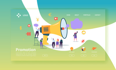 Advertising and Promotion Landing Page Template. Promo Marketing Website Layout with Flat People Characters and Megaphone. Easy to Edit and Customize Mobile Web Site. Vector illustration