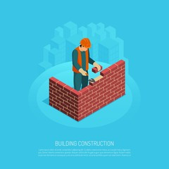Bricklaying Builder Isometric Background