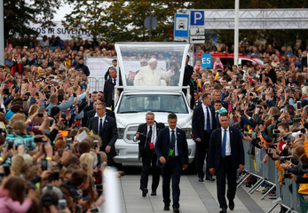 Pope Francis arrives to meet the youth outside the Vilnius Cathedral in Vilnius