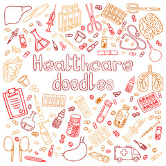 Medicine doodle. Hand drawn vector illustration