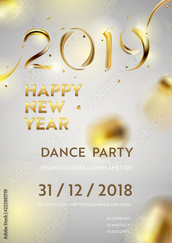 Abstract Golden 2019 New Year background of modern liquid graphic ...