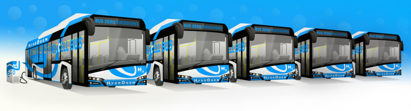 Bus with fuel cells.