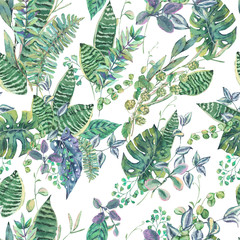 Vector seamless pattern with green exotic leaves, greenery botan