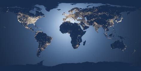 world map illustration night