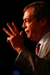 Pro-Brexit supporter and ex-leader of UKIP, Nigel Farage addresses the audience at a 'Leave Means Leave' rally at the University of Bolton, in Bolton