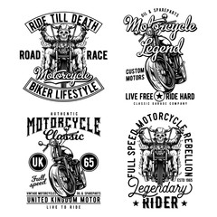Vintage labels set with lettering composition on white background. T-shirt logo design.