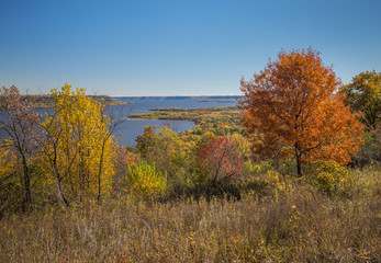 Fall landscape with colorful trees framing a distant view of water and woods in the Mississippi River Valley below Frontenac State Park in Minnesota USA