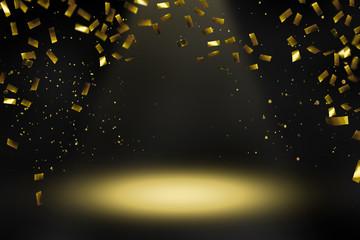 konfettiregen scheinwerferlicht bühne