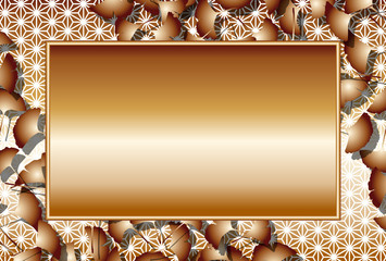 和風背景素材,フォトフレーム,秋,銀杏の葉,文字スペース,落れ葉,枯ち葉,紅葉,自然,イチョウ,麻葉