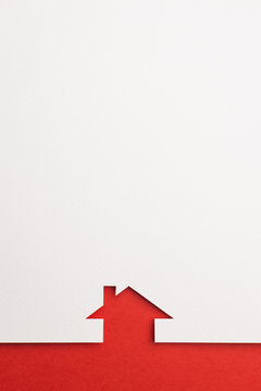 background of simple house on red border