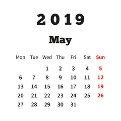 Simple calendar on may 2019 year with week starting from monday isolated on white