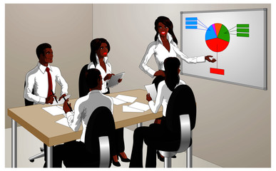 Vector illustration of an attractive black woman performing a business presentation to office employees.