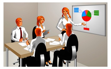 Vector illustration of an attractive blonde woman performing a business presentation to office employees.