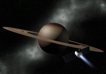Spacecraft fly to Saturn planet. Space exploration.  3D Illustration.