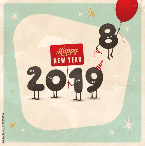 vintage style funny greeting card happy new year 2019 editable