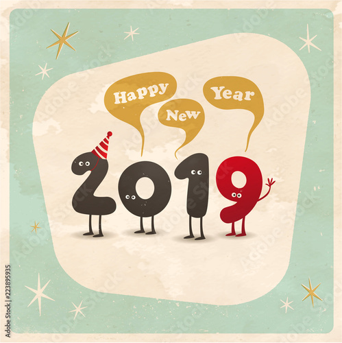 Vintage style funny greeting card happy new year 2019 editable vintage style funny greeting card happy new year 2019 editable grunge effects can m4hsunfo