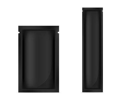 Mock up Realistic Black Foil Sachet for food product or skincare sample packaging vector illustration
