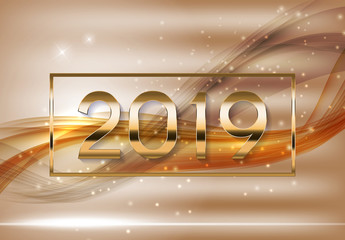 2019 Abstract Vector Illustration New Year Bakground