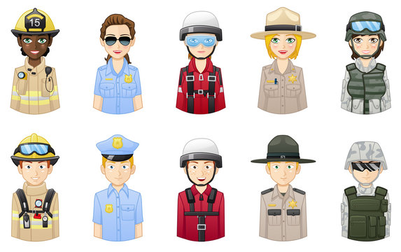 Rescue and safety professionals - People avatars set