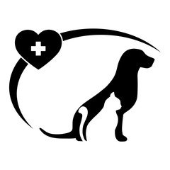 illustration Veterinary Clinic logo with the image of a cat and dog with a heart and a medical cross