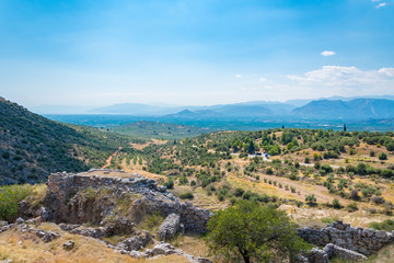 View of the mainland below of the Mycenean palace. Archaeological site of Mycenae in Peloponnese Greece