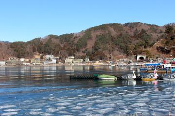 Yamanashi Prefecture, Japan - January 31, 2018 : Kawaguchiko lake in winter