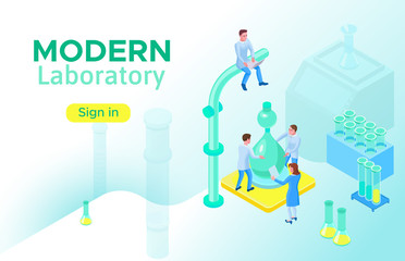 Isometric laboratory concept, landing page template with 3d equipment, scientists doing experiment and research, modern pharmaceutical lab vector illustration