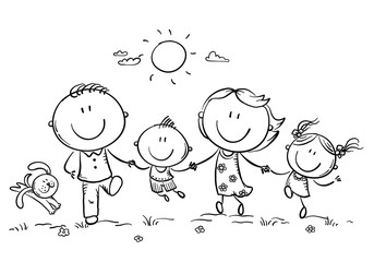 Wall Mural - Happy family with two children having fun running outdoors, outline