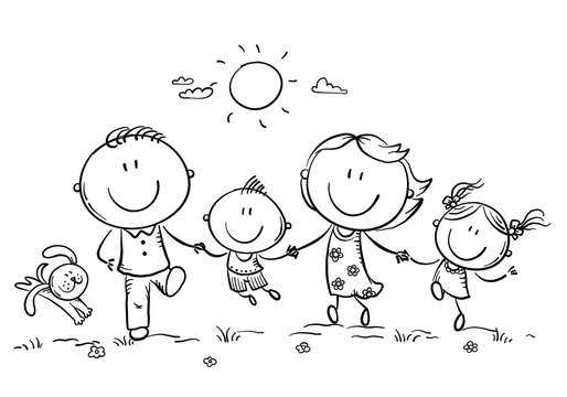Happy family with two children having fun running outdoors, outline