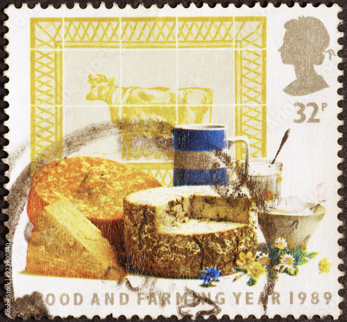 British cheese on postage stamp