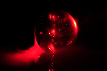 red ball with smoke