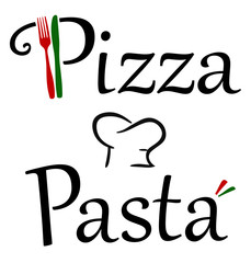 Pizza and Pasta Restaurant Logo with Knife and Fork and Italian Colors and a chef's hat