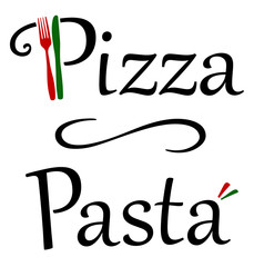 Pizza and Pasta Restaurant Logo with Knife and Fork and Italian Colors and a line in between