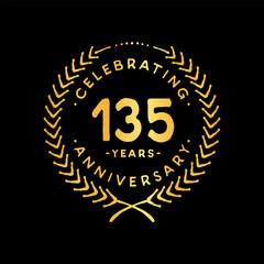 135 years design template. 85th vector and illustration.