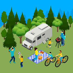 Family Picnic Isometric Composition
