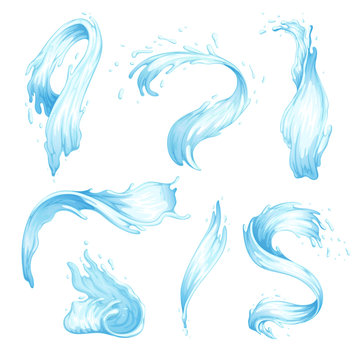Set of water splashes and waves. Blue streams of water of different shapes. Vector illustration
