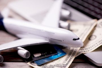 Aircraft banknotes on a notebook