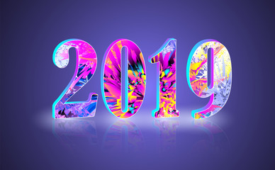 2019 New Year greeting banner with reflect 2
