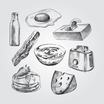 Hand Drawn Breakfast Sketches Set. Collection Of milk, egg, butter, pancakes, yogurt, toaster, cheese,  bacon Sketches on white background.