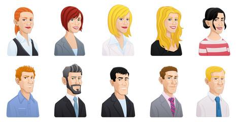 Cartoon style business people avatars set