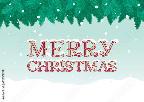 Marry Christmas Greeting Card Vector Christmas Background Of Fir