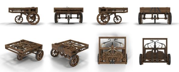Leonardo Da Vinci Automobile on white. 3D illustration