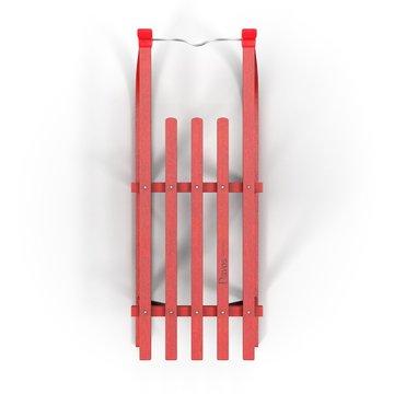 Red Wooden Sled on white. 3D illustration