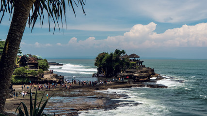 People lining up for a water temple in Bali