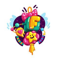 Baby girl alphabet letter F