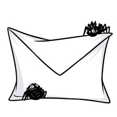 Mail letter internet threat spider virus cartoon illustration isolated image