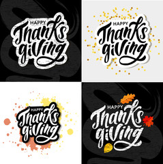 Happy Thanksgiving lettering Calligraphy Brush Text Holiday Vector Sticker Gold Set